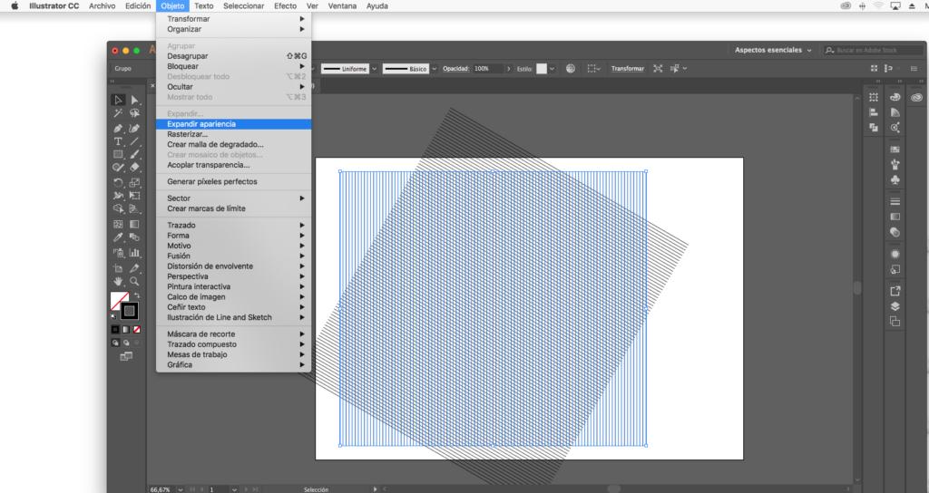 noveno paso para crear una malla isométrica con illustrator