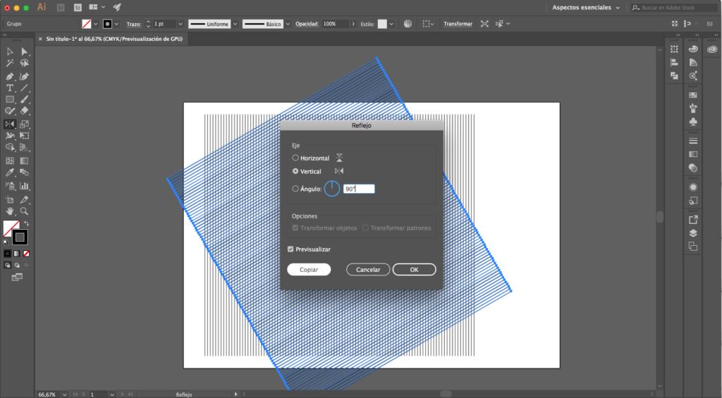 undécimo paso para crear una malla isométrica con illustrator