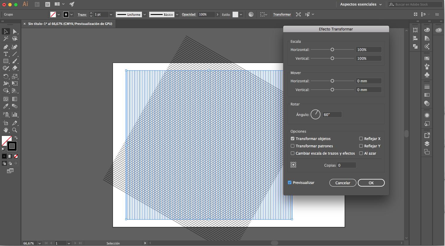 octavo paso para crear una malla isométrica con illustrator